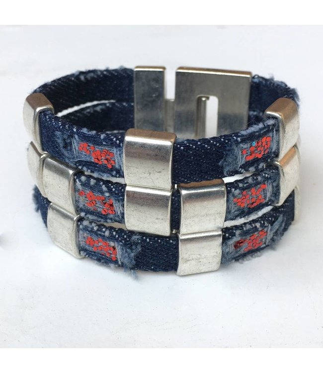 for-YOU-only Armband Jeans Blue Red