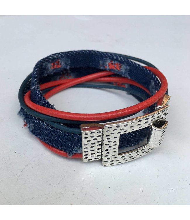 for-YOU-only Armband Jeans Blue Rood Leer