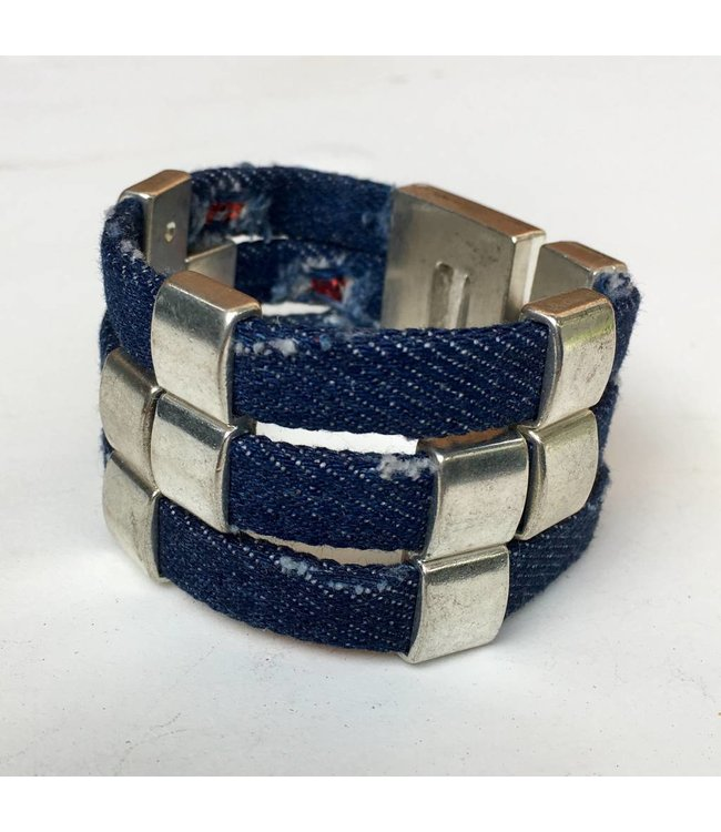 for-YOU-only Armband Jeans Blue magneetslot