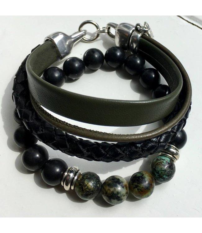 For-You-Only custom made Armband leer olive-black