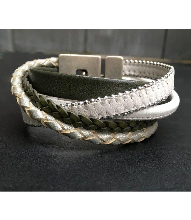 For-You-Only custom made Armband leer met OliveGreen