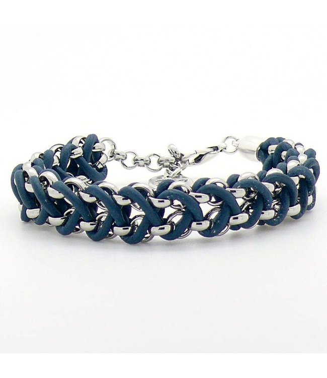 For-You-Only custom made Verzilverde armband gevlochten met echt leer
