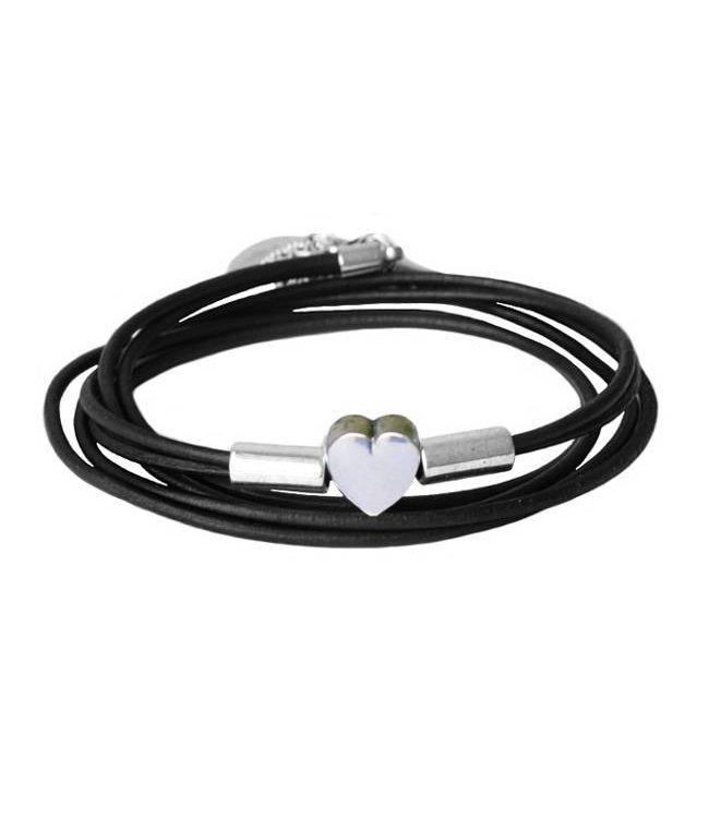 for-YOU-only Armband leder wikkel hart