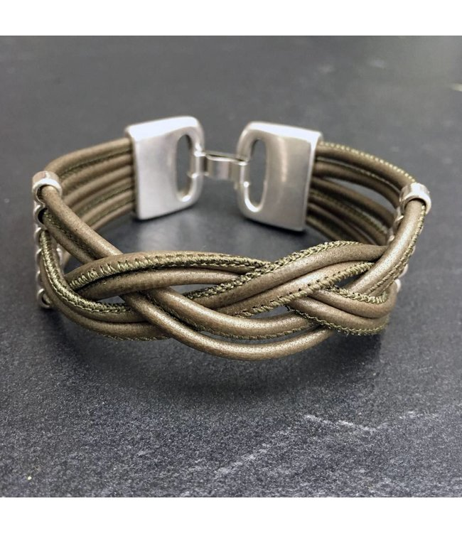 For-You-Only custom made Leren armband olive green