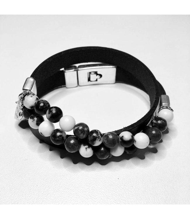 For-You-Only custom made Wikkelarmband Black & White
