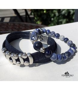 For-You-Only custom made Jeansblue wikkelarmband set