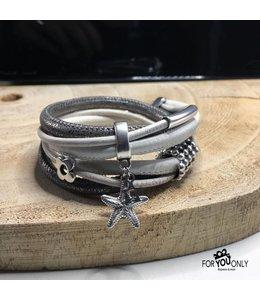 For-You-Only custom made Wikkelarmband wit-zilver
