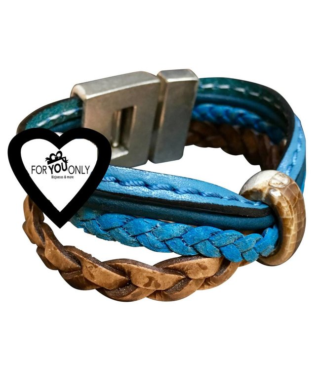 For-You-Only custom made Armband Leer Brown-Blue DQ metaal