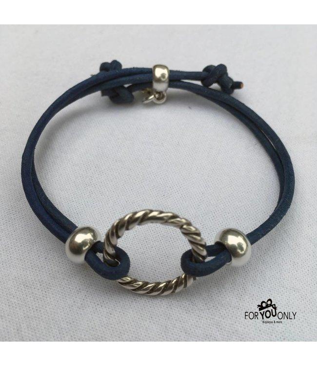 For-You-Only custom made Blue & Grey serie ring verstelbaar