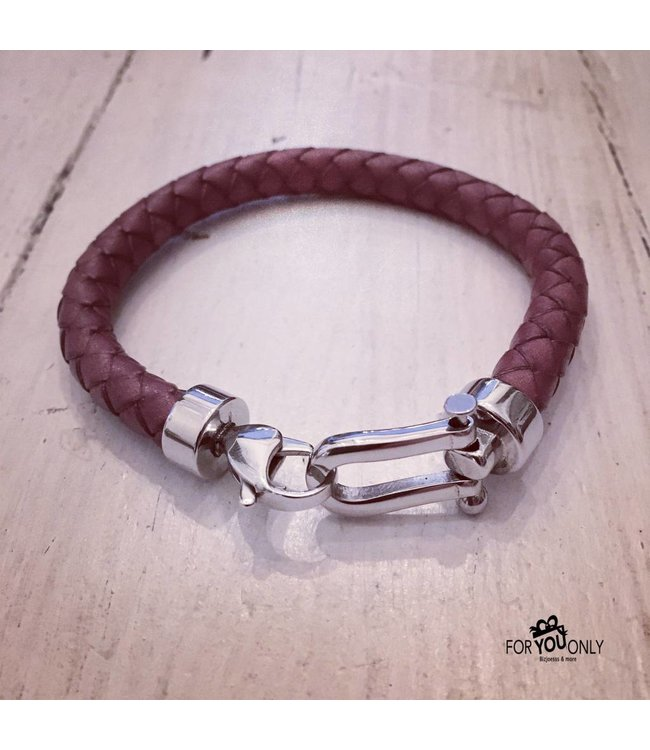For-You-Only custom made Handmade leren  armband Brown