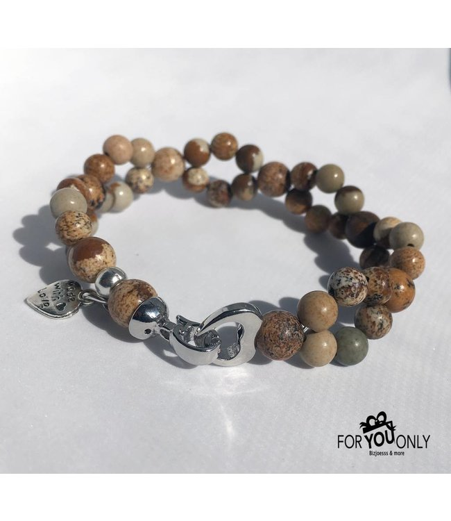For-You-Only custom made Kralenarmband natuursteen bruin naturel