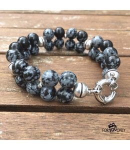 For-You-Only custom made Grey Snowflake Obsidian