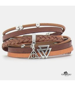 For-You-Only custom made Brown wikkelarmband