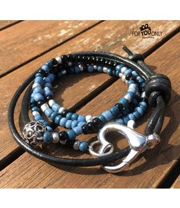 For-You-Only custom made Wikkelarmband Zwart Blauw