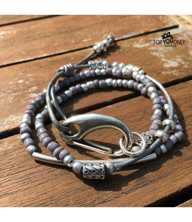 For-You-Only custom made Armband leder met Japanse kralen