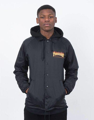 Thrasher Flame Logo Coach Jacket Fleece Hoodie Black