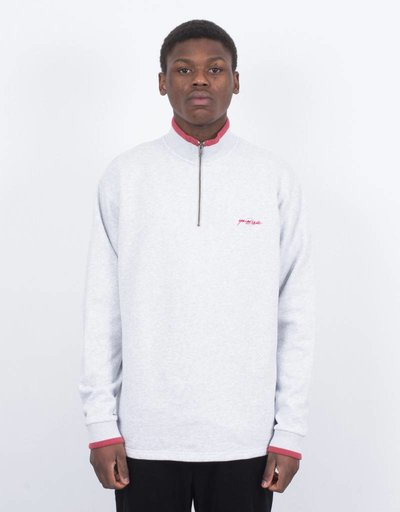 Yardsale Dipped Quarterzip Crewneck Ash Grey/Red