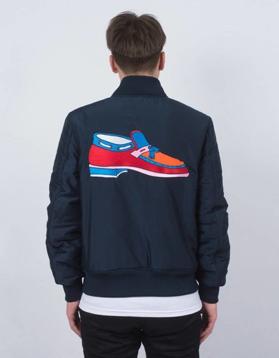 Parra Loafer Satin Jacket Navy Blue