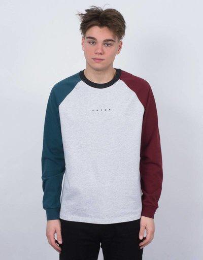 Futur Raglan Longsleeve T-Shirt Black Paon Green/Ox Red/Heather Grey