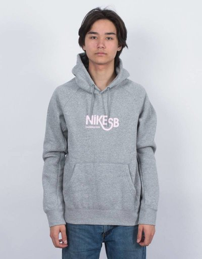 Nike SB Icon GFX Hoodie Heather Grey/Prism Pink