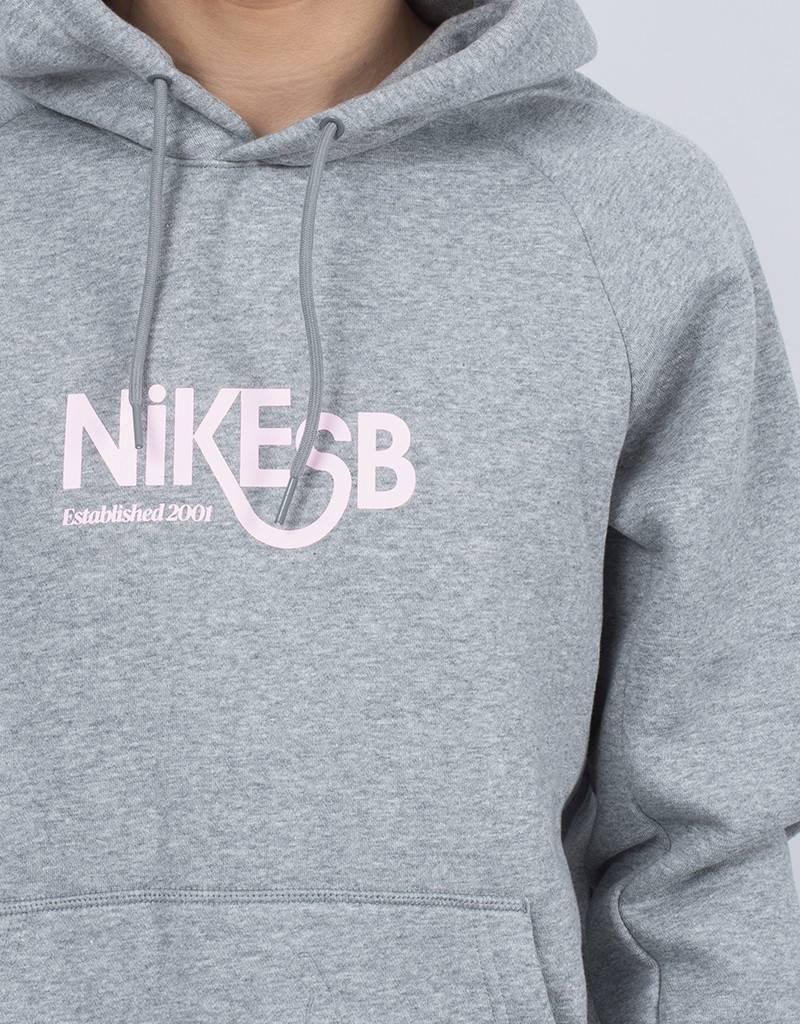 Nike SB Icon GFX Hoodie Heather Grey/Prism Pink