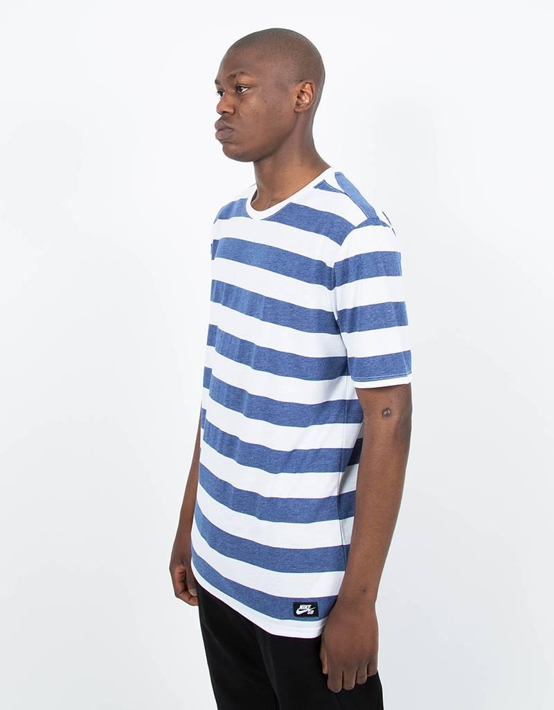 Nike SB Dry Stripes T-Shirt White/Royal Blue