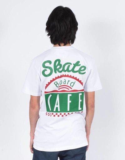 Skateboard Cafe latte diner logo t-shirt white