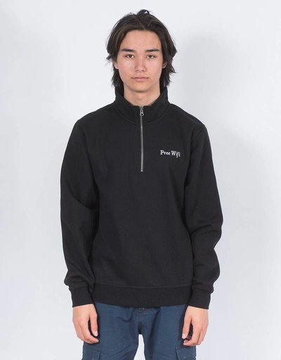 Free Wifi half zip crewneck black