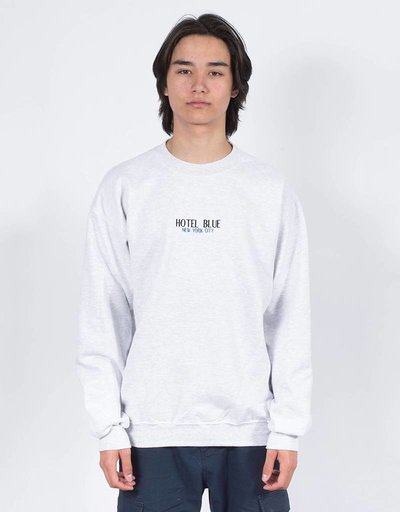 Hotel Blue Crewneck embroidery logo ash grey