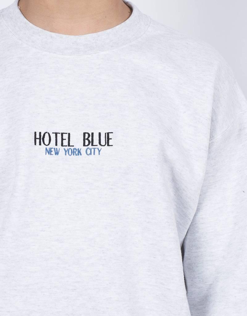 Hotel Blue Crewneck embroidery logo ash grey