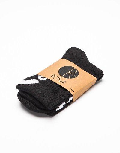 Polar Upside Down Happy Sad Socks Black/White
