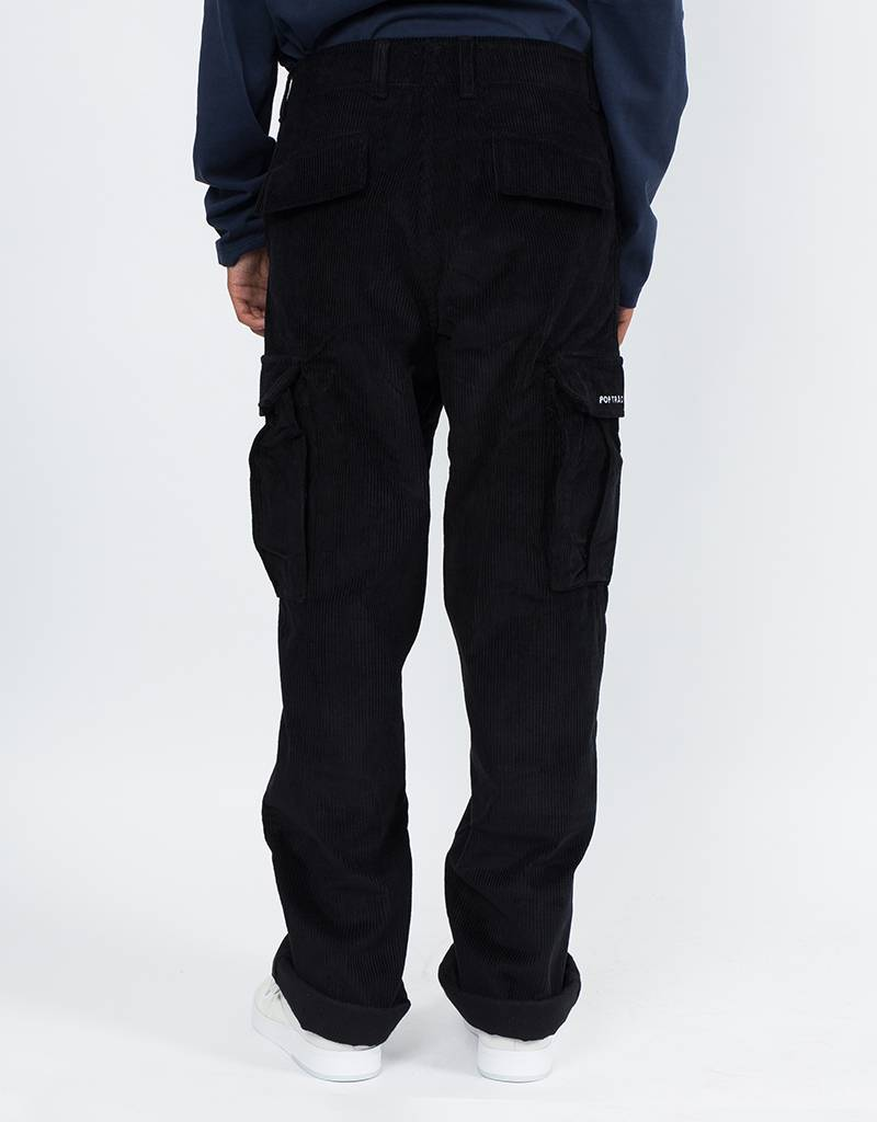 Pop Trading Co Corduroy Cargo Pants Black