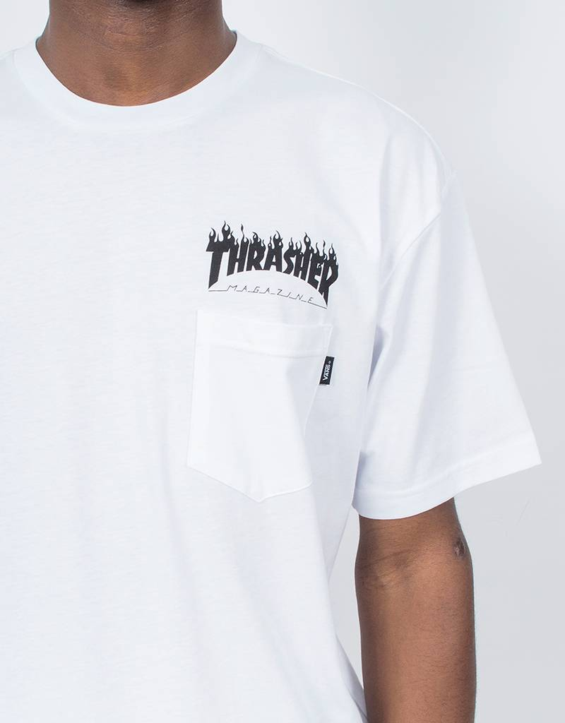 Vans x Thrasher Flame Pocket T-Shirt White