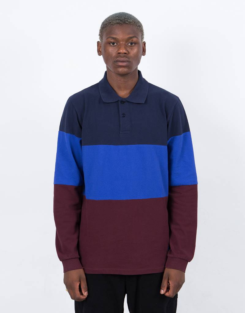 Quartersnacks X Streetmachine Block Polo Navy/Blue/Burgundy