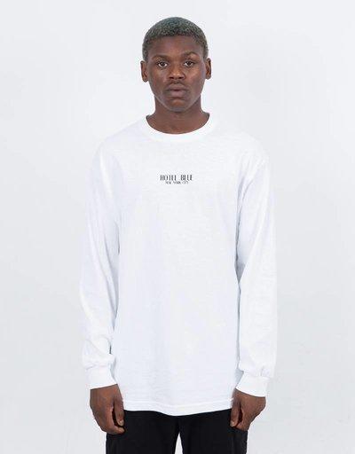 Hotel Blue Logo Longsleeve T-Shirt White