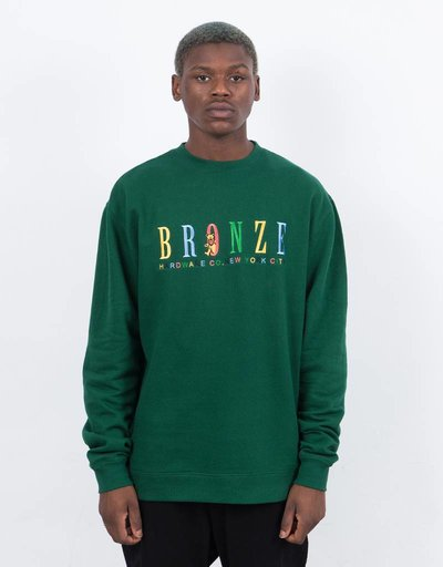 Bronze 56K Bear Embroidered Crewneck Forest Green