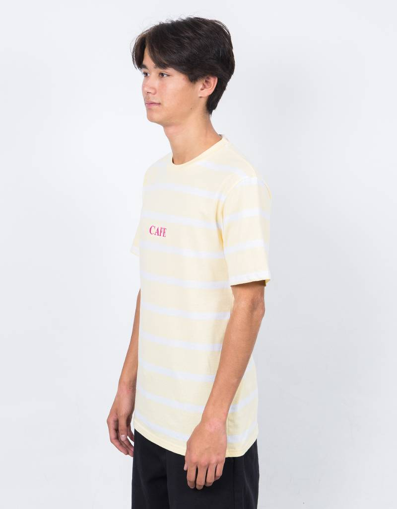Skateboard Cafe Embroidered Stripe T-Shirt Banana