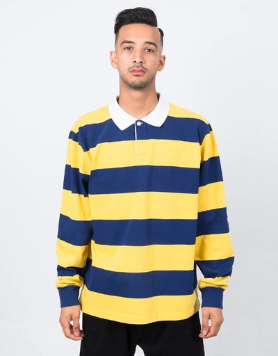 Polar x Dear Skating Block Stripe Longsleeve Polo Navy/Yellow