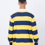 Polar x Dear Skating Block Stripe Longsleeve Polo Navy/Yellow
