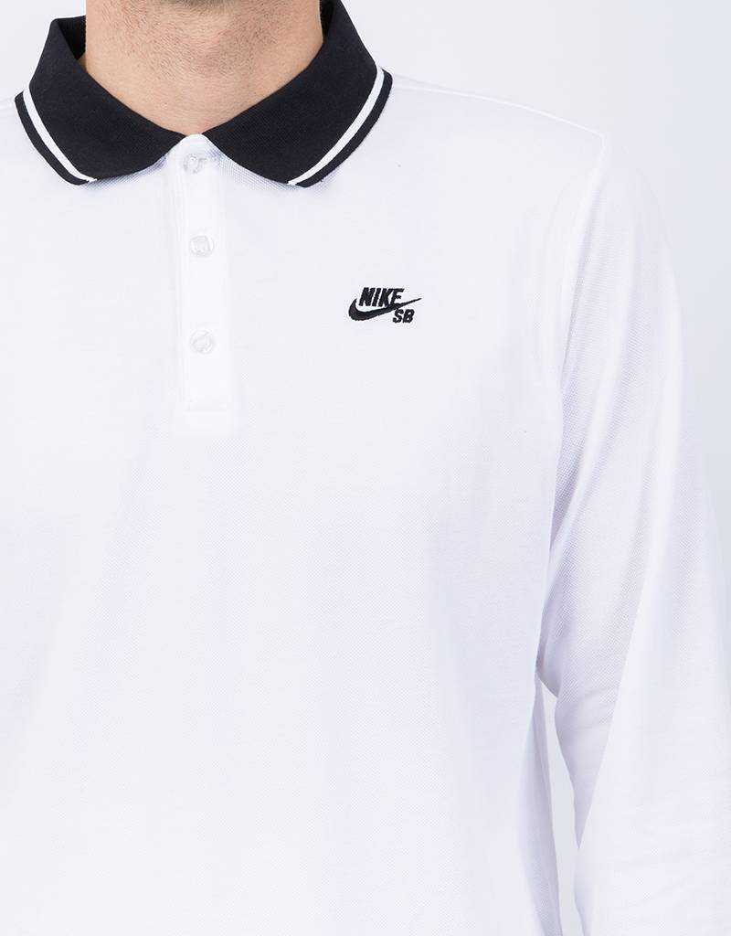 Nike SB Dry Longsleeve Polo White/Black