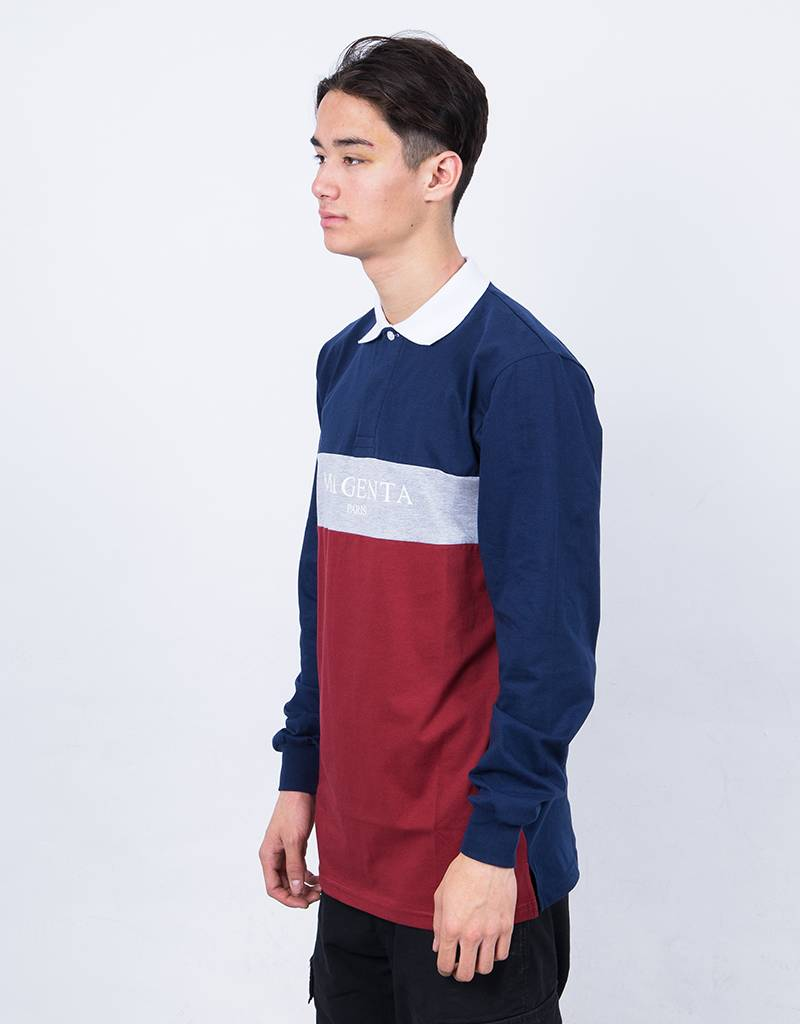Magenta Paris Longsleeve Polo Tricolor