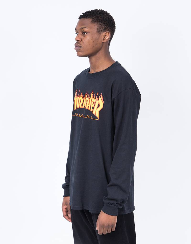 Thrasher Flame Longsleeve T-Shirt Black