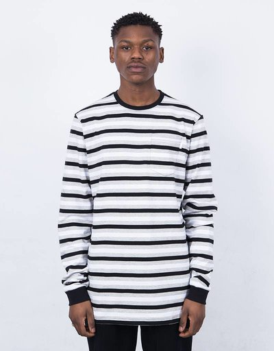 Civilist Striped Pocket Longsleeve White/Black/Grey