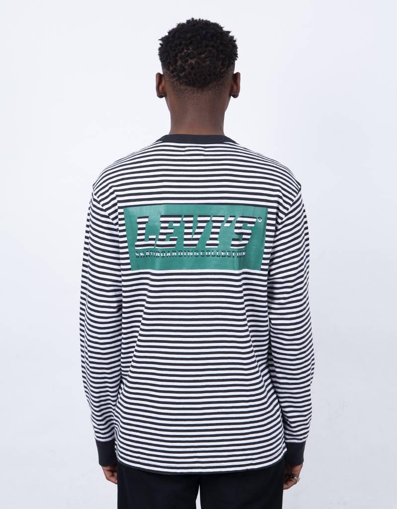 Levi's Skate Green Block Logo Striped Longsleeve Black/White