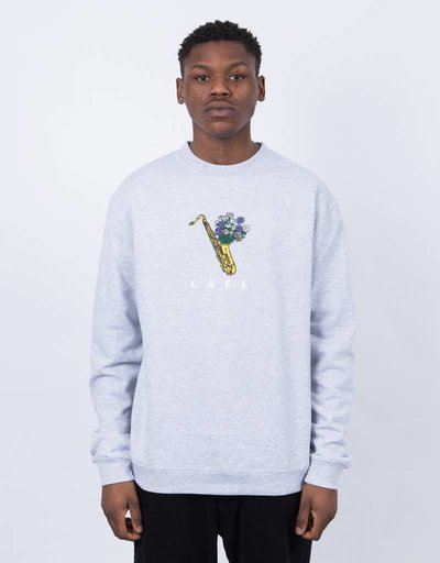 Skateboard Cafe Sax Flowers Crewneck Heather Grey