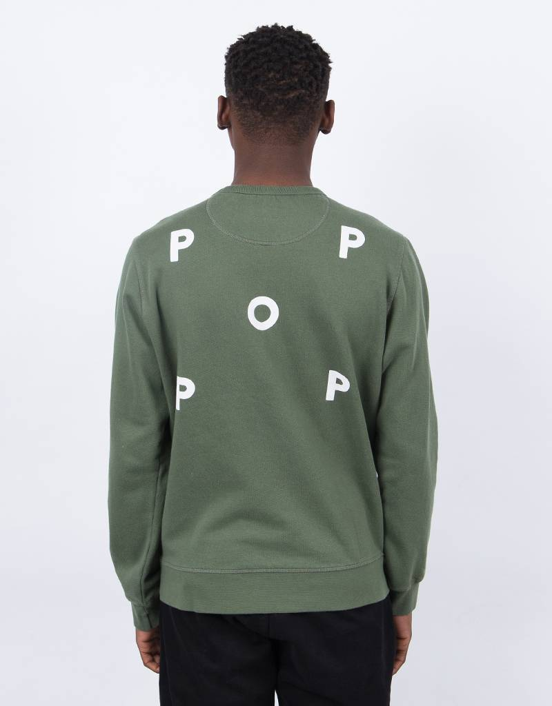 Pop Trading Co Logo Crewneck Olive