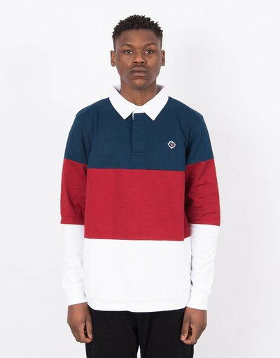 Magenta Tricolor Longsleeve Polo Navy/Red/White