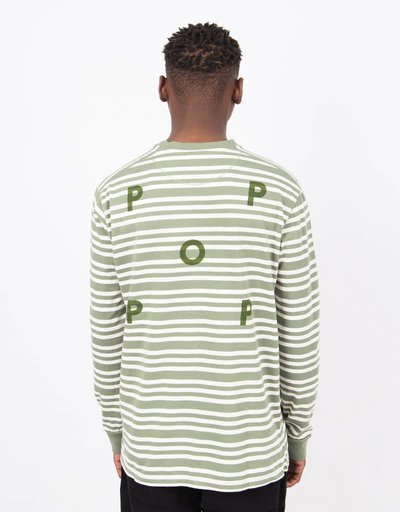 Pop Trading Co Triple Stripe Longsleeve Olive