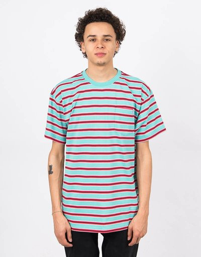 Polar Striped Pocket T-Shirt Mint/Coral Red