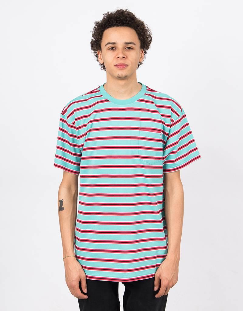 Polar Striped Pocket T-Shirt Mint/Coral Red